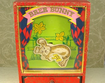 Vintage Dancing Bunny Music Box Shadow Box Brer Bunny Rabbit 1960s 1950s Here Comes Peter Cottontail Song - Open Drawer to Play - WORKS!
