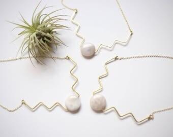 Agate Aztec Necklace// Brass/ Statement necklace