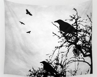 Wall Tapestry Wall Hanging Sofa Throw Design 43 Bird Crow Raven tree Grey black modern Home Decor art L.Dumas