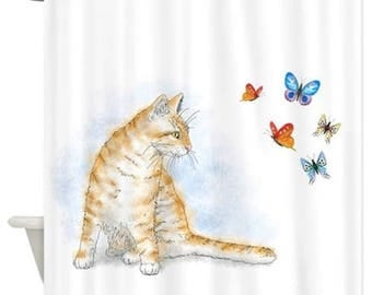 Shower Curtains Art Shower Curtain Bath Bathroom Cat 616 blue orange butterfly art painting L.Dumas