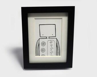 Mini Original - Robot Illustration, Hand drawn