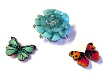 Vintage Brooch Upcycled Flower Magnet, Silver with Green and Rhinestone Beads, 2 Butterfly Magnets,  Home Decor