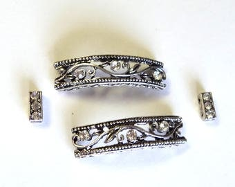 Antique Silver and Clear Rhinestone Vines Slider Beads, Set of 4, Jewelry Supplies, Bracelet Components, 4 Loop Findings