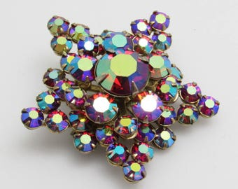 Red Rhinestone Star Brooch Layered AB Vintage Jewelry P8003