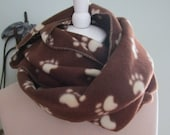 Fleece Infinity Scarf brown dog print foot print winter