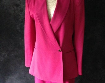 Vintage 1980's skirt suit fuchsia Claude Montana power suit