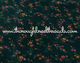 Stunning Floral Velvet - Vintage Fabric 70s New Old Stock Upholstery Green