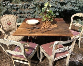 HOLD Vintage Painted Chairs - Shabby Chic Chairs - Farmhouse Rustic Chairs - Vintage Dining Chairs - Vintage Needlepoint Chairs - Fauteuil