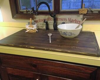 Flat Wood Sink Cover stained dark walnut  - no rails
