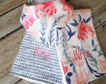Monogrammed Burp Cloth and Bandana Bib Set, Modern Baby Girl Gift Set, Baby Shower Gift, Floral Baby Girl Gift Set, Drool Bib Set
