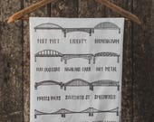 Bridges of Pittsburgh Tea Towel. Bridge Tea Towel. White Cotton Tea Towel. Housewarming Gift.
