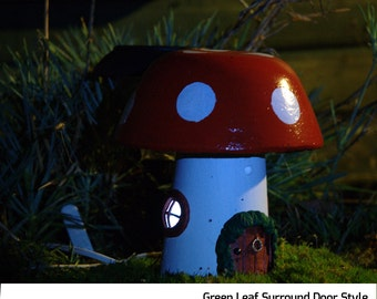 Stone Fairy House Garden Ornament - Add Magic to your Garden with the Charming Toadstool Cottage a Handmade Solar Light Up Outdoor Ornament