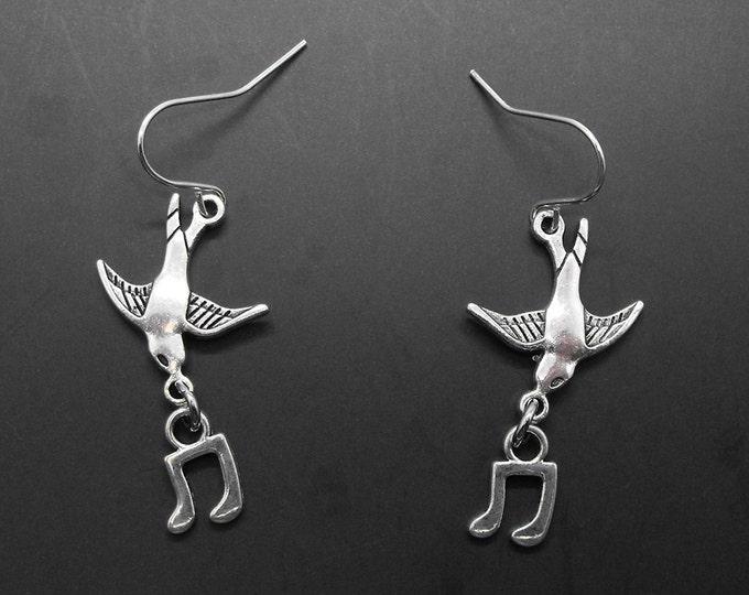 Bird Song Earrings Birdsong Singer Music Jewelry Musical Notes