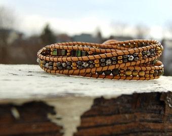 Boho Natural Brown Wrap Bracelet
