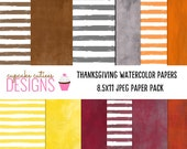 Water Color Digital Papers- Thanksgiving Single Digital Paper Set- Instant Download