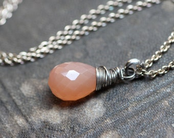 Peach Moonstone Necklace Rustic Wire Wrapped Briolette Pendant Sterling Silver Chain Pink Necklace Moonstone Jewelry
