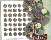 Rose Initial, Collage Sheet, Monogram, Alphabet, Bottlecap Images, Instant Download, 1 inch Circles, Digital Circles, 1 inch rounds