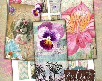Printable, Domino Collage Sheet, Sweet Elegance, 1x2 Inch Images, Domino Images, Vintage Ladies, Flower Ephemera, Spring Flowers