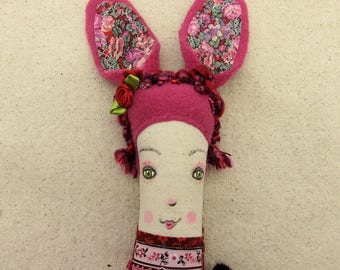 Plum - red OOAK handmade rabbit girl heirloom rag doll