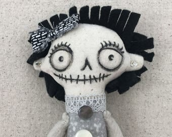 Winnie - OOAK handmade heirloom spooky cute rag doll