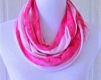Pink Stripes Infinity Scarf, Women's Fashion Scarf, Circle Scarf, Loop Scarf, Tube Scarf, Women's Scarves, Eclectasie