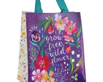 Grow Free Wildflower Reusable Tote Bag   Small Grocery Bag
