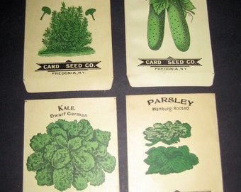 4 Beautiful Unused Antique  (early 1900s) Vegetable Seed Packets for Display, Collage, Scrapbooking, etc.