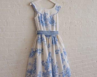 Tea Dress {blue toile  } size 2-4
