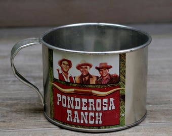 Antique Souvenir Ponderosa Ranch Tin Cup
