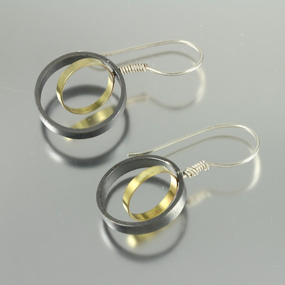 Two-Toned Brass and Sterling Dangle Earrings