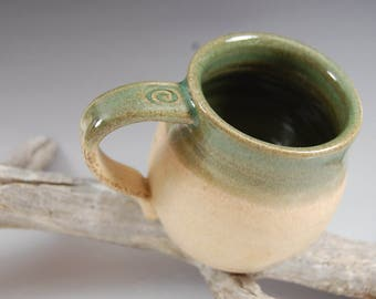 Pottery Mug Bamboo With Olive Green Celedon Glaze, Serving, Handmade Cup Tea Coffee