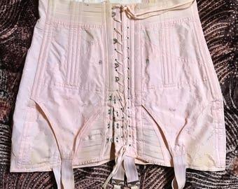 Vintage corset 40's 50's heavy duty lace up garters 1940's 1950's