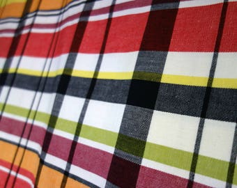 "Vintage Simtex Tablecloth, Pavilion Plaid Pattern in Red, White, Black, Orange, Yellow, & Green, Large 51"" x 68"" 1950s Cotton Tablecloth"