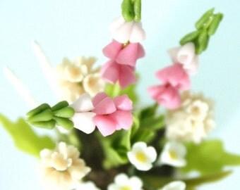 Miniature Polymer Clay Flowers Supplies Pink Foxglove, Peach Hyacinth and White Daisy
