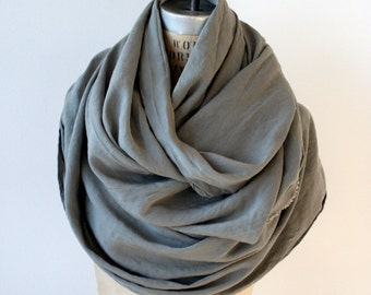 Holiday SALE , Gray Scarf, Long Linen blend, Cool Scarves, Fashion Accessories