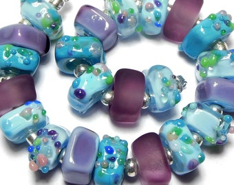 Quinlan Glass Monet's Paradise Handmade Lampwork Glass Beads
