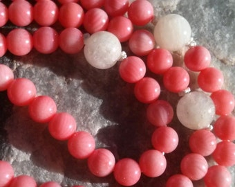 Bamboo Coral Mala - Prayer Beads - Buddhist Rosary - Salmon colored