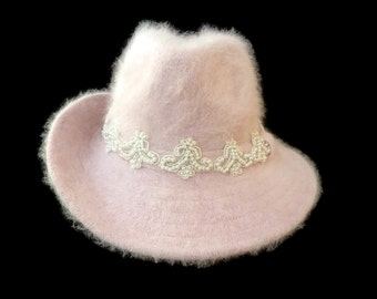 "Women's Wide Brim Wool Angora Fedora, Shapeable Brim, Vintage style Fedora Hat in Soft Pink - ""I Adore a Fedora"""