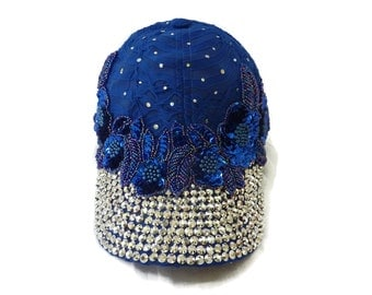 "Women's Baseball Hat, Jeweled Baseball Cap, Golf Visor, Mother's Day Golf Gift, Baseball Cap in Royal and Silver Sparkle - ""Leading Lady"""