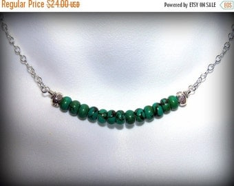Greem Turquoise Jewelry, Beaded Choker Necklace, Sterling Silver Hill Tribe Beads, Adjustable, Handmade, Green Gemstone, Gift for Her