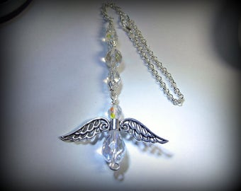 Guardian Angel Suncatcher for Car, Hanging Rear View Mirror Accessory, Wings, Charm,, Sun Catcher, Good Energy for Your Angel