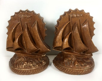 Vintage Pair of Bookends - Sailing Ships, Nautical Theme, Pressed or Carved Wood, Rustic