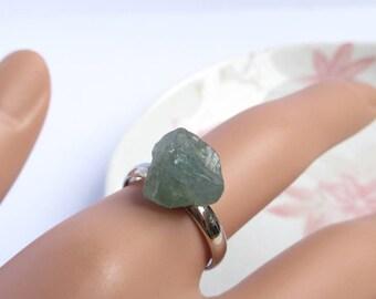 Raw Apatite Ring, Genuine Gemstone Jewelry, Adjustable Ring Size, Spiritual Gift