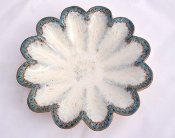 Fluted Candy Dish in Cream Ivory White - Ceramic Stoneware Pottery