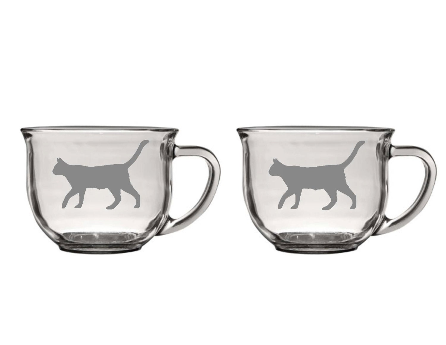 Set Of 2 Cat Glass Coffee Mugslarge Cat Coffee Cupetched Cat