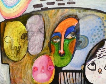 OOAK Listen Painting on Panel