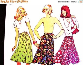 20% off SALE 1970s Wrap Skirt Pattern Vintage Sewing Patterns Simplicity Pattern Bias Skirt Wrap Around Skirt Pattern Misses size 12