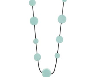 pale blue necklace, resin and rubber jewellery, travel fashion idea