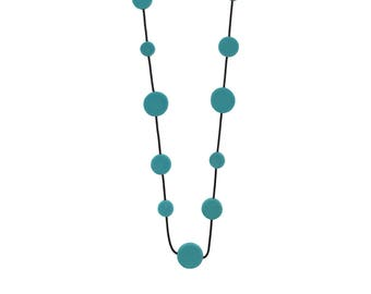 teal resin long necklace, travel jewelry, tropical resort wear
