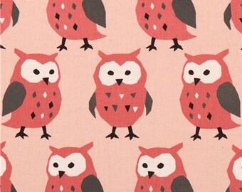 202990 light peach owl Canvas fabric Kokka